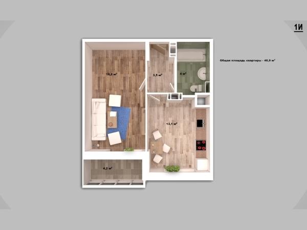 Однокомнатная квартира купить в Мамулино