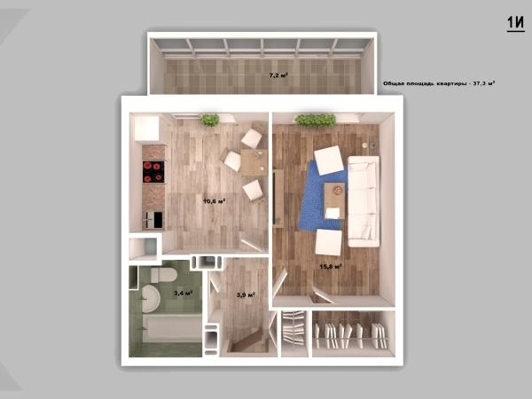 Однокомнатная квартира В твери